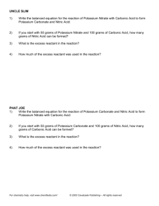 Limiting Reagent Worksheet (c)2002 Cavalcade Publishing, All