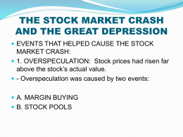 an analysis of the great depression of 1930s and the crash of the stock market Stock market crash of 1929 started the great depression october of 1929 saw the collapse of the stock market , which obliterated 40 percent of the value of common paper stock, decimating the investment portfolio of many.