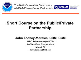 NOAA Partnership Policy – The First Year AMS Symposium on the