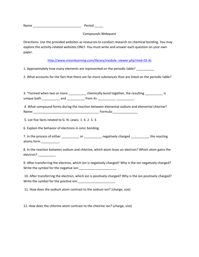 Name Period Compounds Webquest Directions Use The