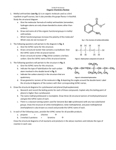 3 Organic Chemistry Review Fall 2012