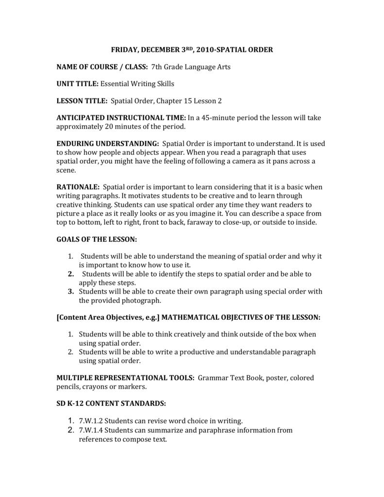 spatial order essay writing