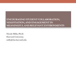 Encouraging student collaboration, negotiation, and engagement in