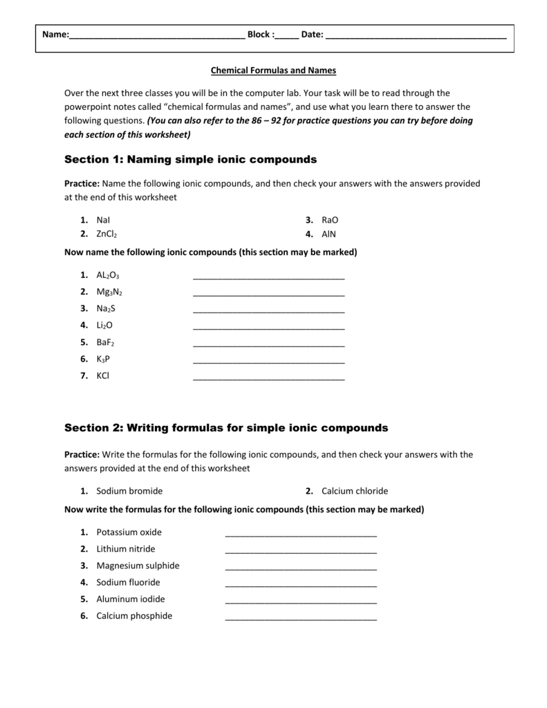 Chemical formulas and names worksheet