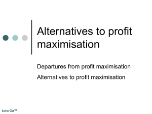 Alternatives to profit maximisation