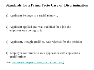 Summary of establishing a prima facie case of disparate treatment
