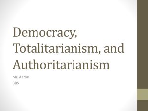 Democracy, Totalitarianism, and Authoritarianism