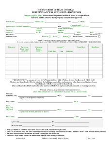 Building Access Authorization Form - The University of Texas at Dallas