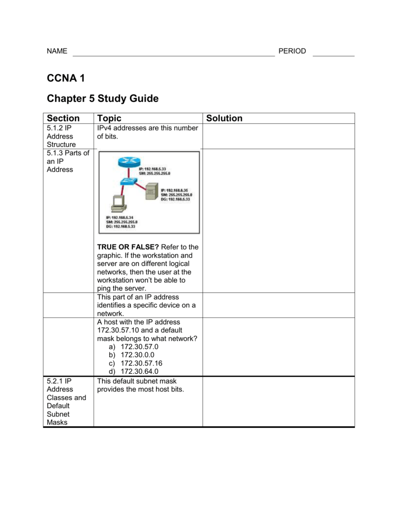 CCNA 1 Chapter 5 Study Guide Section Topic Solution