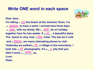 Write ONE word in each space Dear Jane, I'm sitting