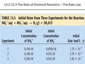 13.2-13.3 The Rate of Chemical Reactions – The Rate Law