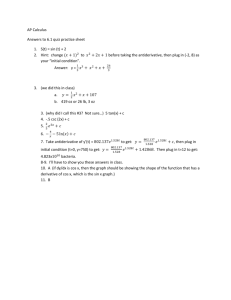 AP Calculus Answers to 6.1 quiz practice sheet S(t) = sin (t) + 2 Hint