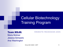 Cellular Biotechnology Training Program
