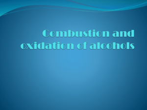 Combustion and oxidation of alcohols