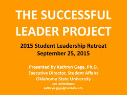 The Successful Leader Project - Oklahoma State Regents for Higher