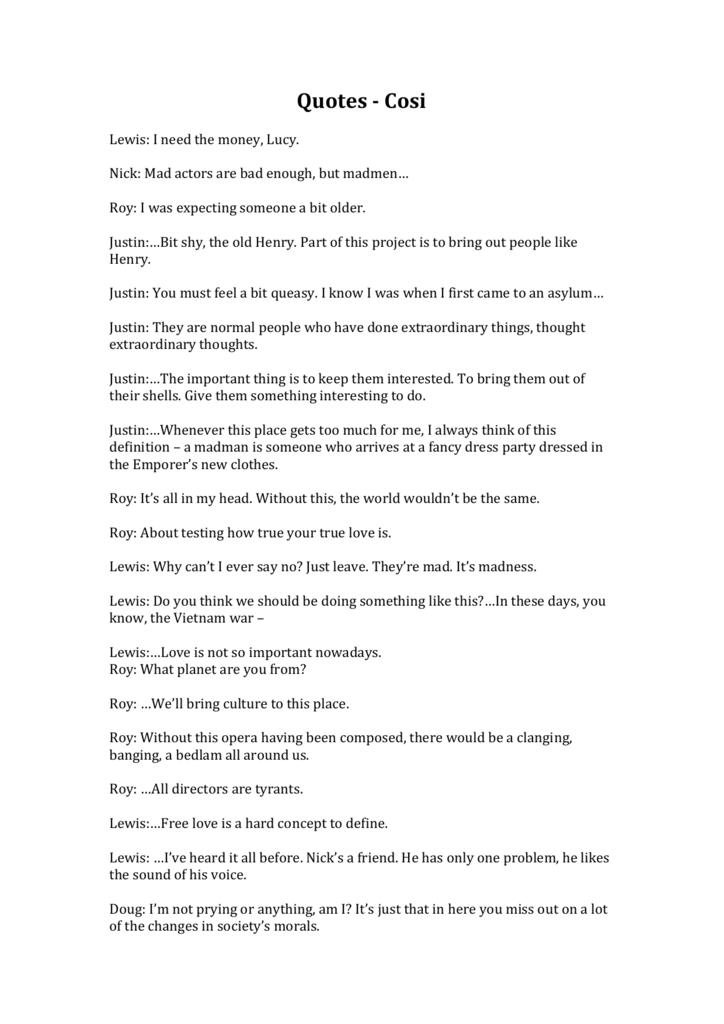 cosi essay questions