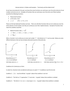 "Calculus Section 1.4 Notes and Examples – ""Continuity and One"