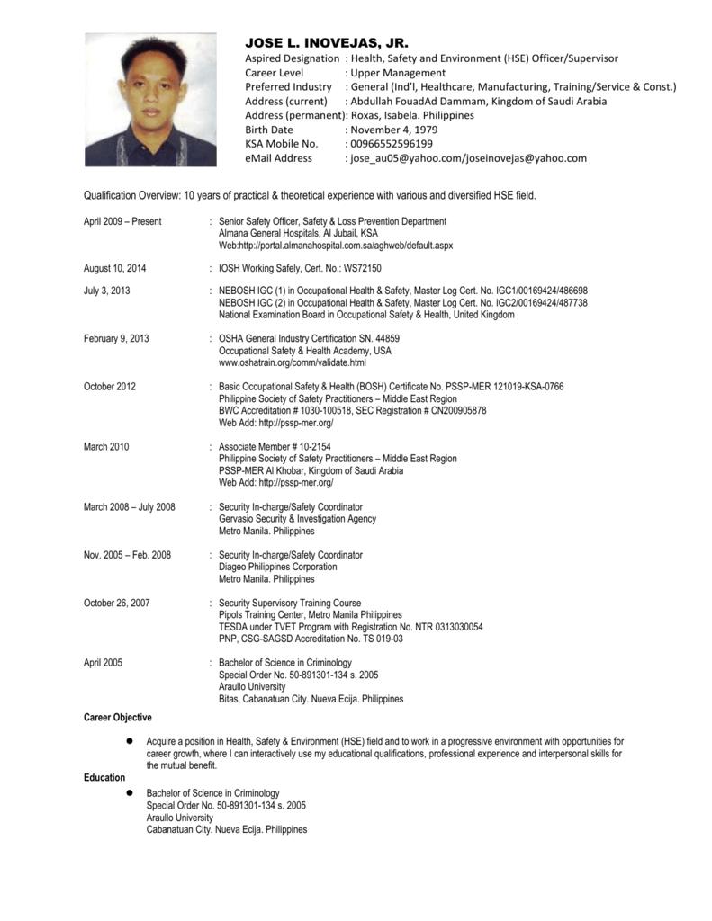 JOSE L  INOVEJAS, JR  Aspired Designation : Health, Safety and