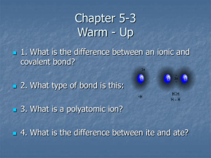 Chapter 5-3 Compound Names and Formulas