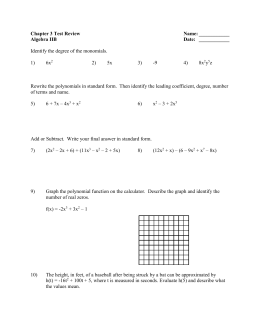 Chapter 3 Test Review Name: ______ Algebra IIB Date: ______