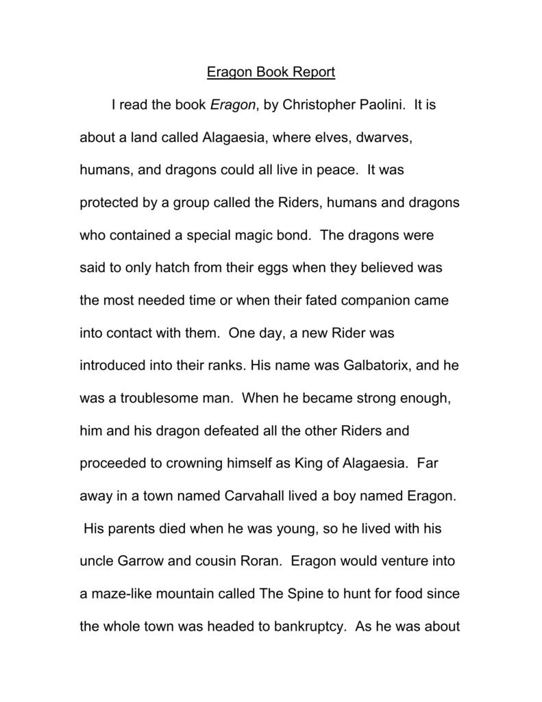 eragon 1 book report
