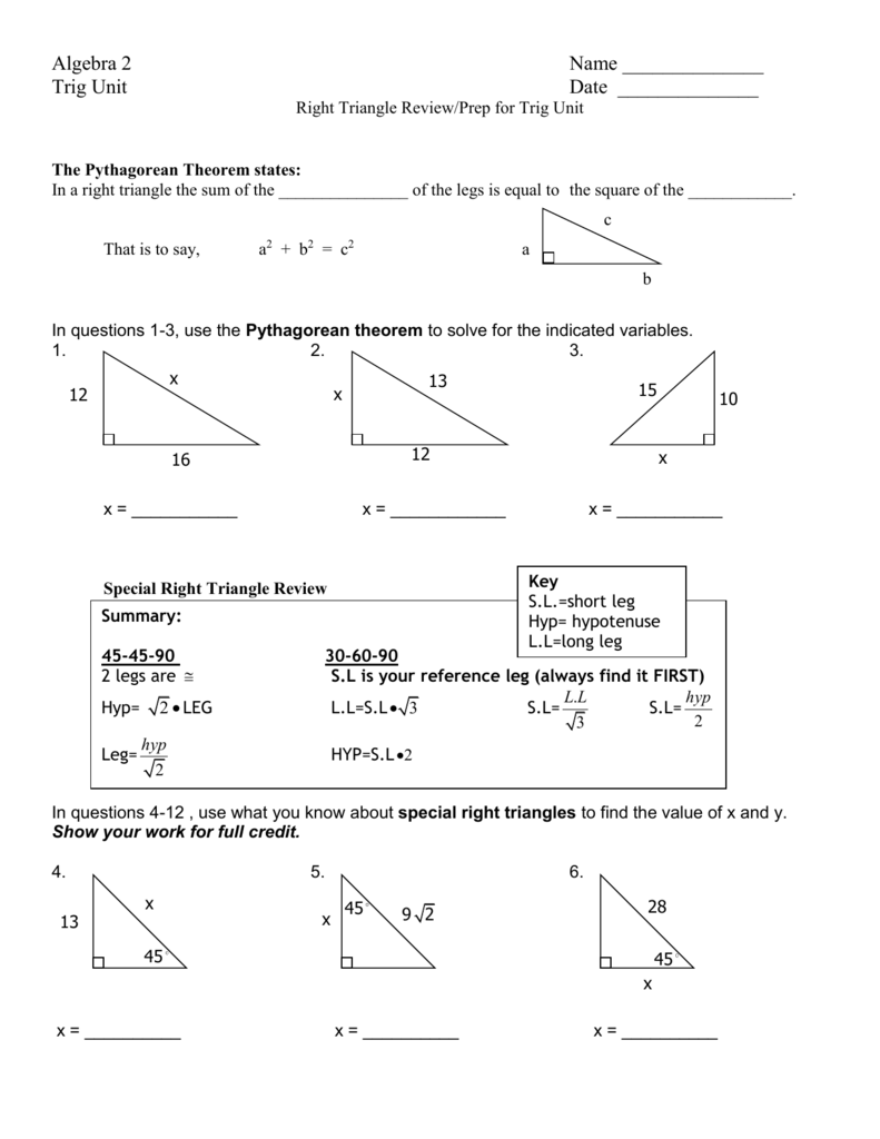 Right triangles test answer key