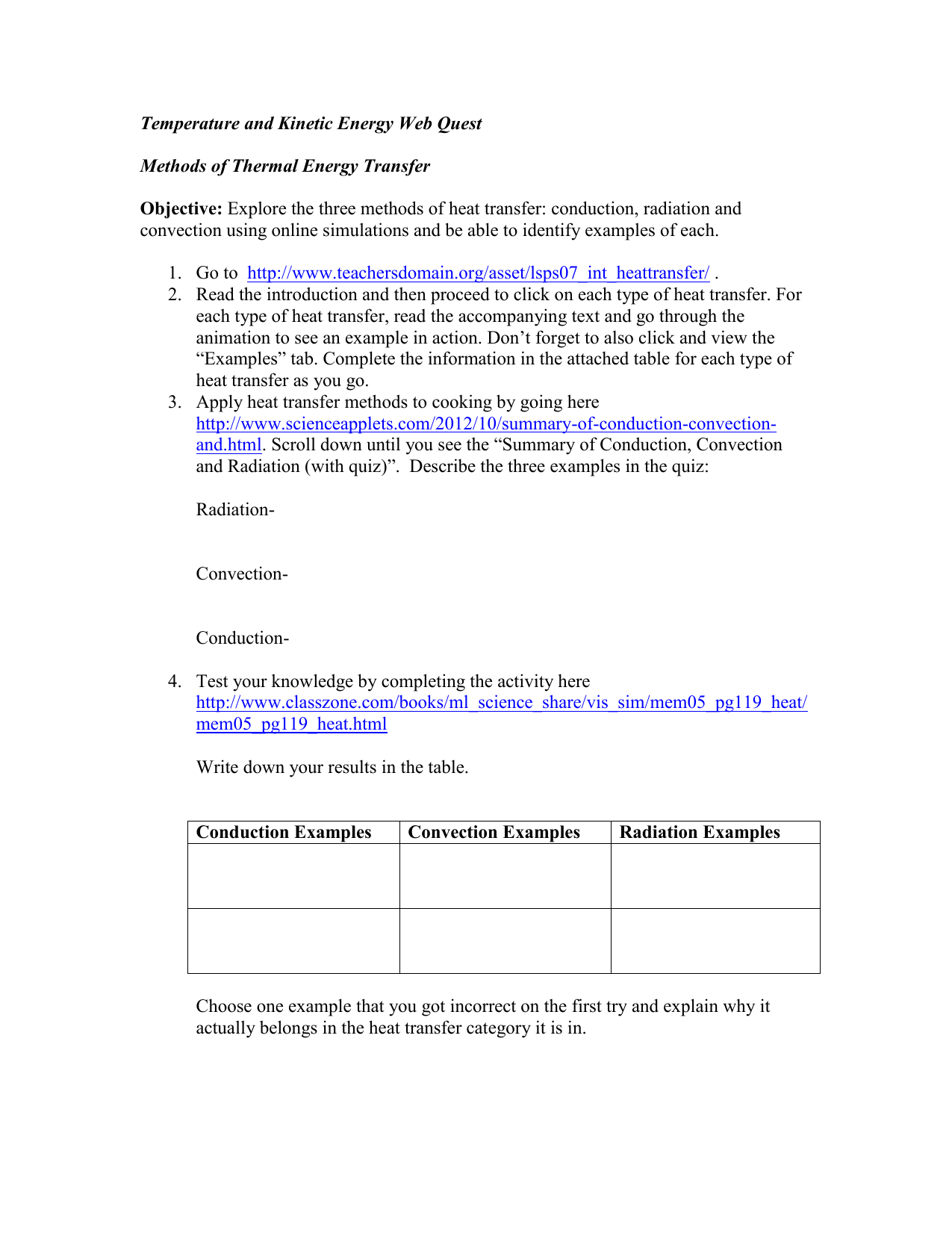 Temperature and Kinetic Energy Web Quest Methods of Thermal