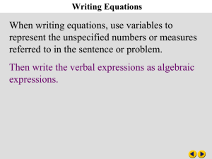 Ch 3-1 Writing Equations