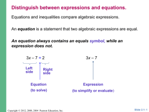 2.1 Linear Equations in One Variable
