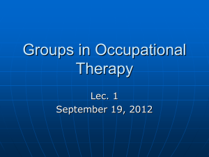 1 Groups in Occupational Therapy