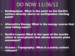 Earthquakes Key Questions