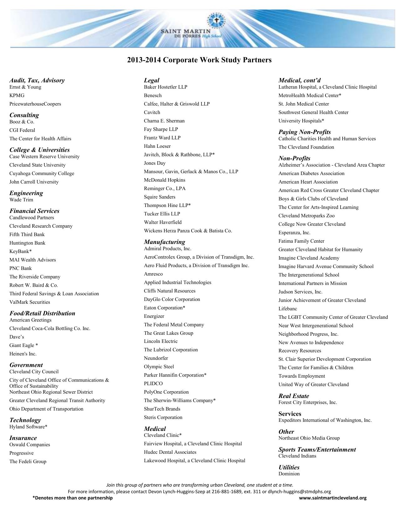 2013 2014 Corporate Work Study Partners Audit Tax Advisory