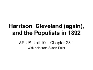 Harrison, Cleveland (again), and the Populists in 1892