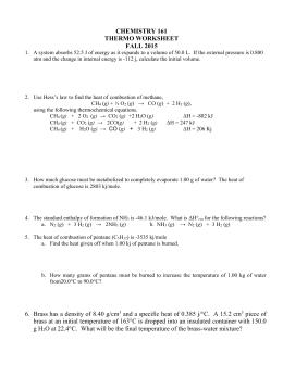 Thermochemistry worksheet #1 Key