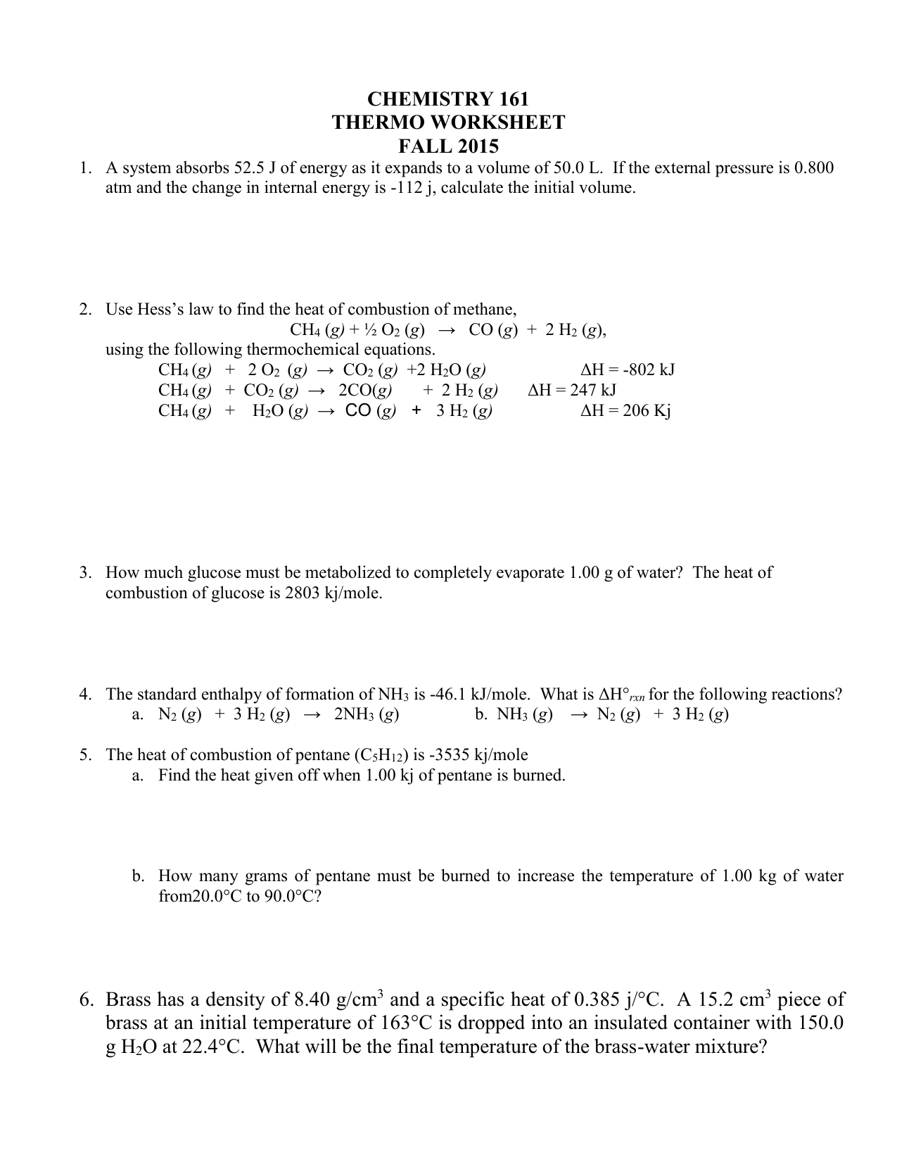 Thermochemistry worksheet #1