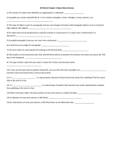 Vocab Quiz MS Word Ch 3 - Review Sheet