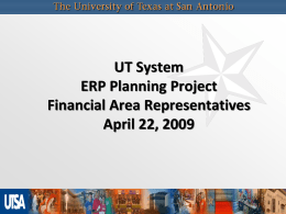 UT System ERP Planning Project Financial Area Representatives