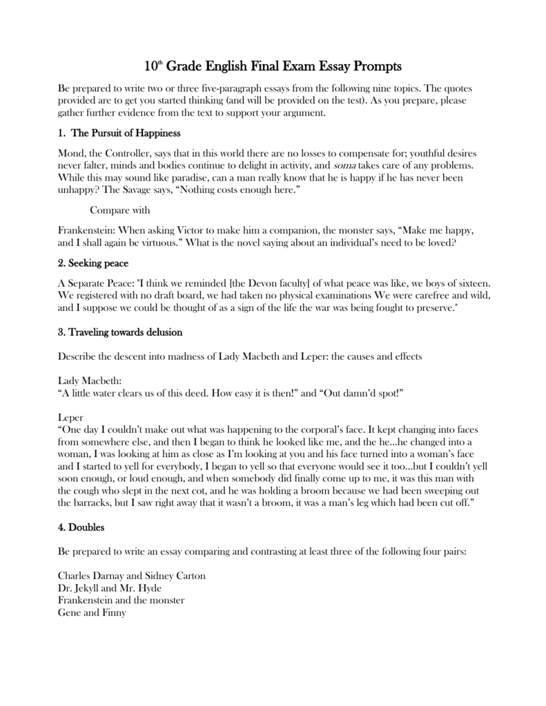 Persuasive Essay On School Lunches  Essay About Mother Tongue also Fahrenheit 451 Theme Essay  Th Grade English Final Exam Essay Prompts Start An Essay