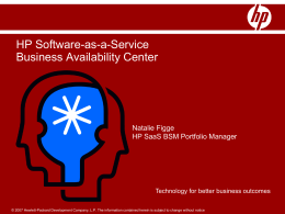 HP SaaS Offerings Overview - for Business Availability Center