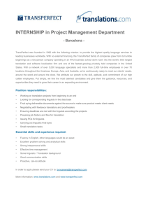 INTERNSHIP in Project Management Department