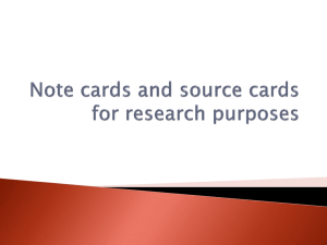 Note cards and source cards for research purposes