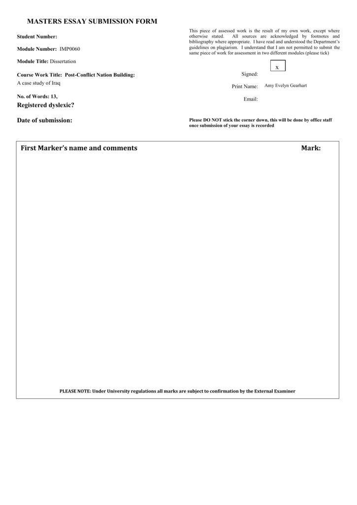 MASTERS ESSAY SUBMISSION FORM Student Number: Module