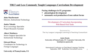 TBLT and Less Commonly Taught Languages Curriculum