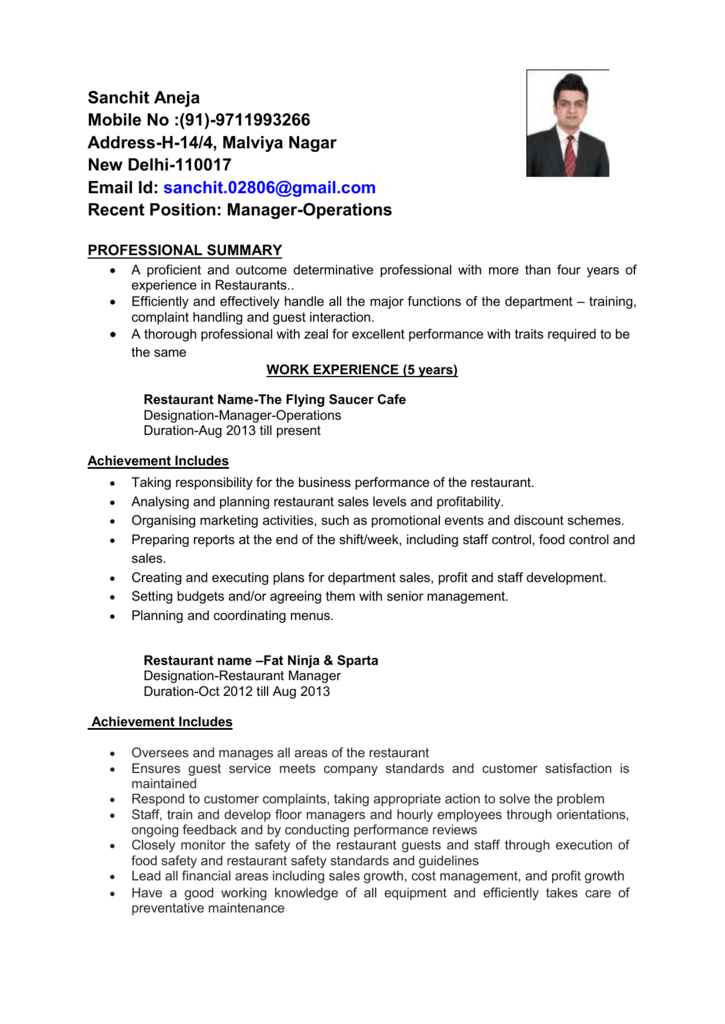 Recent Position: Manager