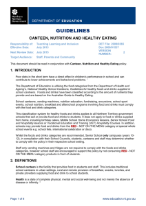 Canteen Nutrition and Healthy Eating Guidelines