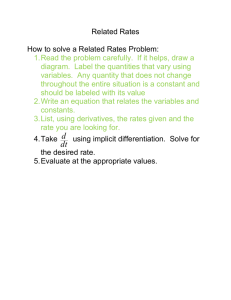 Related Rates How to solve a Related Rates Problem: Read the