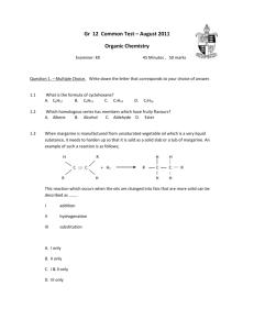 Alkenes Multiple Choice Quiz