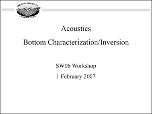 Acoustics Bottom Characterization/Inversion