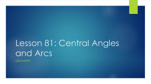 Lesson 81, Central Angles and Arcs