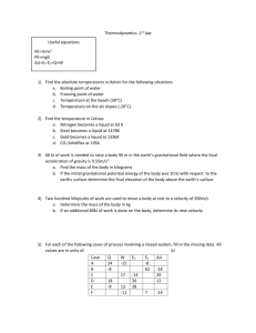 Problem Set - 1st Law Thermodynamics